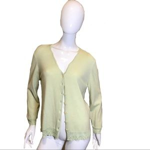 Escada Cashmere Cardigan Sweater Green Size: 44